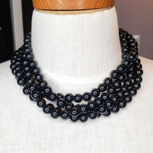 Kenneth Lane 4 strand black beaded necklace